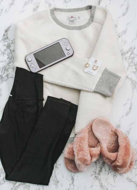 The comfiest snow day outfit: Fuzzy slippers, leggings and a fuzzy pullover   #LTKunder100 #StayHomeWithLTK #LTKSeasonal