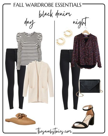 FALL ESSENTIALS: BLACK JEANS // Easily style your black jeans two ways with a flip of shoes and top! Day to Night outfit idea   #LTKunder50 #LTKstyletip