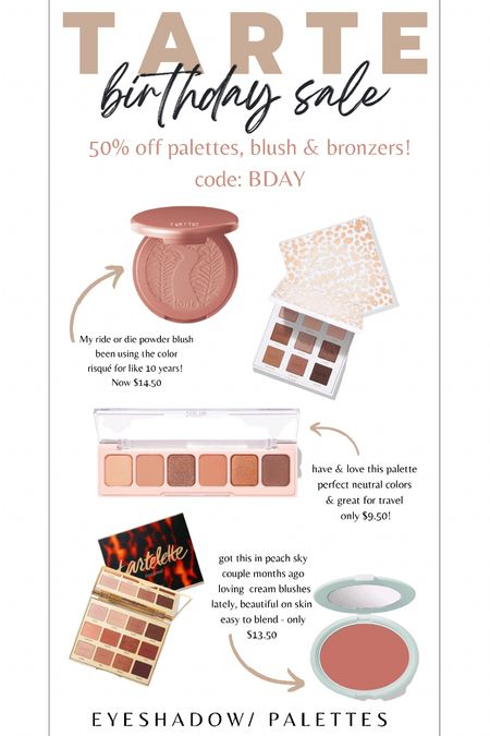 Tarte cosmetics BDAY a sale! 50% off palettes, blush & bronzers! All under $25 right now!!! Great as holiday gifts too!   #LTKHoliday #LTKsalealert #LTKGiftGuide
