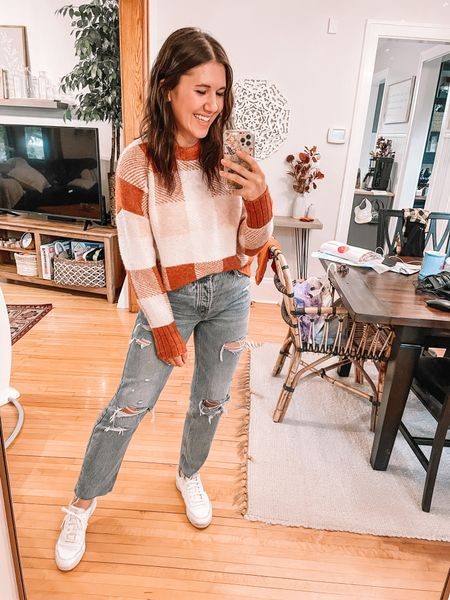 Target style sweater (small) Old navy straight jeans (4, size down 1) Reebok sneakers (size up .5), amazon fashion, amazon finds     Thanksgiving day outfit, plaid sweater, target finds, fall outfits, fall fashion, thanksgiving outfits, holiday outfits  #LTKunder50 #LTKHoliday #LTKSeasonal