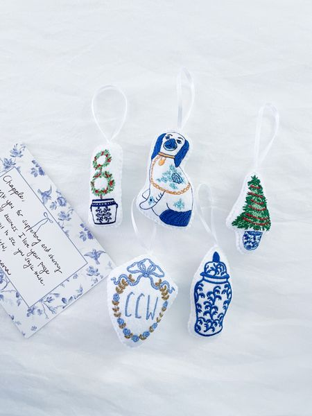 Chinoiserie Christmas Ornaments Gifts for her, your wishlist, blue and white Christmas grandmillennial style Christmas tree Hanukkah gifts ornament personalized monogrammed holiday decor   #LTKunder50 #LTKHoliday #LTKGiftGuide