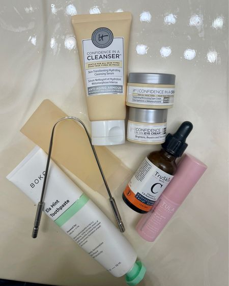 Morning routine! Tongue scraper, tooth paste, face wash, vitamin c serum, eye cream, moisturizer, and under eye brightening balm http://liketk.it/3jWvf #liketkit @liketoknow.it #LTKbeauty #LTKunder50