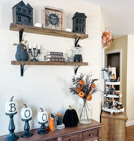 Halloween styled shelves Halloween decor home decor Target decor Target finds   #LTKhome #LTKSeasonal