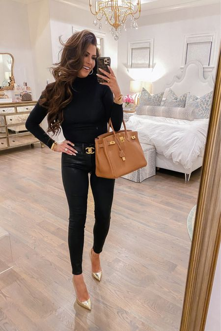 Fall Outfit Ideas, Fall Outfit, Black Long Sleeve Tee. Black Coated Denim, Christian Louboutin, Chanel Belt, Fall Date Night Outfit, Black Jeans, Jeans, Hermes Birkin, Brown Leather Handbag, Emily Ann Gemma       #LTKstyletip
