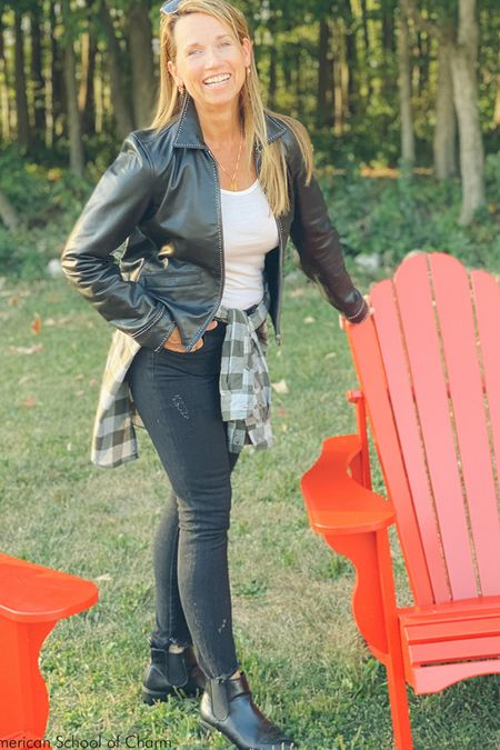 My all time favorite modern leather jacket paired up with the feature Target flannel shirt, Topshop distressed black jeans, Icebreaker layering scoop neck shirt, leather booties, and of course my Ray-Ban Aviators . Perfect for shopping in the fall and going straight to Happy Hour!  #LTKunder100 #LTKstyletip