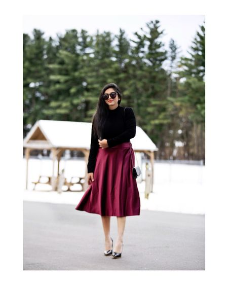 <Satin midi skirt>❤️✨ Perfect for casual or dressed up looks and it comes in burgundy, navy and black colors. #holidayoutfitideas  @tagetstyle  Outfit details- http://liketk.it/2yShy #liketkit @liketoknow.it  Follow me on the LIKEtoKNOW.it app to get the product details for this look and others!