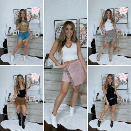 Today I'm sharing 5️⃣ outfit ideas perfect for a weekend away in Nash! Which one is your fave?!  1️⃣ PINK COWGIRL - White Crop / Pink Fringe Skirt / White Booties 2️⃣ GROUPIE -Cropped Band Tee / High Waisted Blue Jean Shorts / White Booties 3️⃣ INDIAN PRINCESS- Black Tank / Suede Fringe Shorts / Tall Black Boots 4️⃣ BRUNCH QUEEN - White Top / Floral Skirt / Nude Tall Boots 5️⃣ BLACKOUT BABE - Black Tank / Black High Waisted Levi's / Black Booties  Shop all pieces via the link in my bio!  Headed off ✈️ to save a 🐴 and ride a 🤠 // time for some work + play!