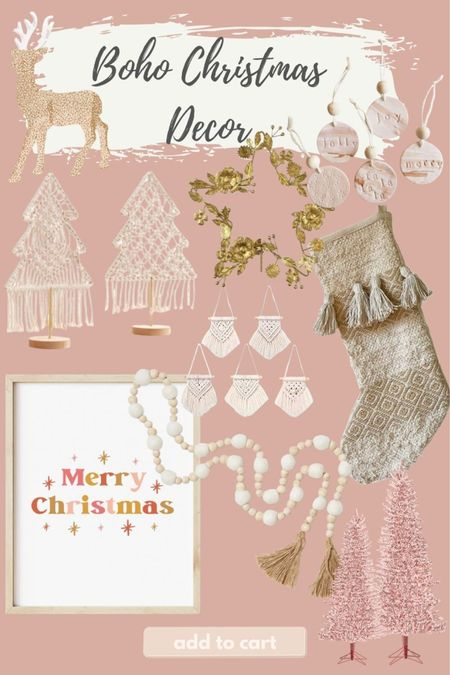 Boho Christmas decor is one of my favorite styles! I love the macrame, jute, blush tones and natural muted colors.   #LTKGiftGuide #LTKSeasonal #LTKHoliday