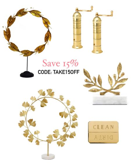 Save 15% on your order with code: take15off ✨SCROLL DOWN TO SHOP PRODUCTS ✨ #liketkit @liketoknow.it http://liketk.it/3i0at gold wreath on stand, laurel wreath, Greek Wreath, gold pepper mill, gold dishwasher magnet, home decor, summer decor, blue and white decor, home sale, deal of the day #LTKhome #LTKsalealert #LTKunder50