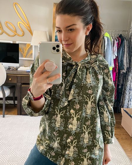 Love this bunny print top for working from home! It also comes in several other colors and prints. @liketoknow.it #liketkit http://liketk.it/2Op8Z #StayHomeWithLTK #LTKspring