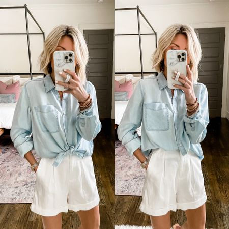 There are lots of good sales happening today in the LTK app! This chambray shirt + paper bag shorts combo is a favorite of mine! Here are a few ways to style this look! $10 OFF $100 with code at checkout! \\ Both pieces are true to size. Linked here: http://liketk.it/3hvVs @liketoknow.it #liketkit #LTKstyletip #LTKunder100 #LTKsalealert
