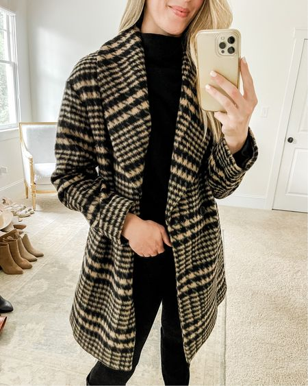 This plaid shawl collar coat is one of my favorite (and most unexpected!) #nsale purchases. It looks and feels more expensive than it is, is lined, and has pockets. If it restocks, size down. I linked two nsale dupes for this beauty as well as a lookalike for the AllSaints black sweater underneath!   #nsalecoat #nsalepublicaccess #nsaledupes #nsalelookforless #falloutfits #falloutfitswomen #nsaledupe nsale look for less, nsale dupe, nsale dupes, fall outfits women, nordstrom anniversary sale coat