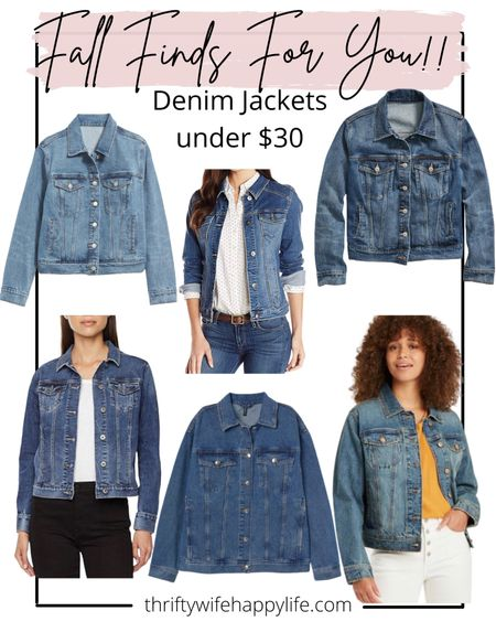 Fall denim's jackets under $30!!  #LTKSeasonal #LTKsalealert #LTKunder50