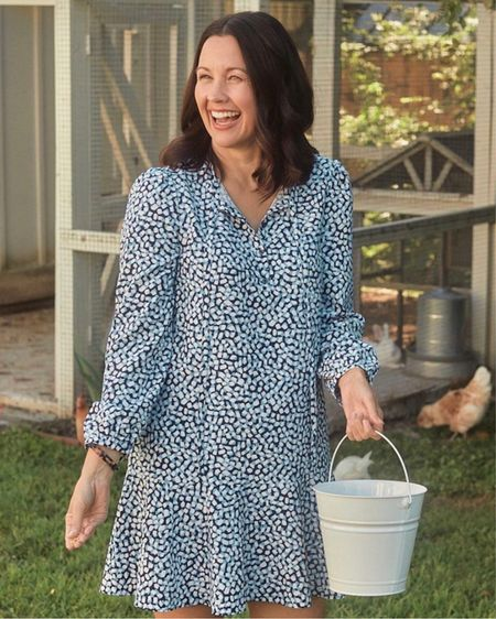 This new Draper James dress is the perfect transitional dress. This dress can be dressed up or dressed down. I styled it as a casual dress with sneakers. In the fall I'll wear this with with flat over the knee boots. It's so easy to wear!    #LTKworkwear #LTKunder100 #LTKstyletip