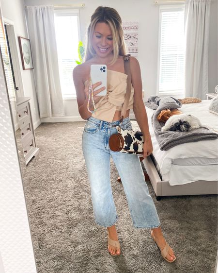 Denim look, dinner outfit, date night, high waisted straight leg cropped jeans, tie front top, cute crop top, cow print bag/phone charm from @shopautumnroad   #LTKstyletip #LTKunder100 #LTKitbag
