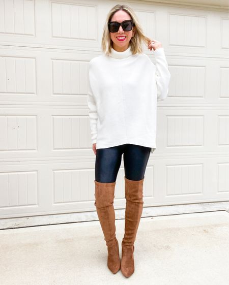 Fall look: oversized chunky sweater with faux leather SPANX leggings - pair with some cute over the knee boots   SPANX leggings are part of the Nordstrom anniversary sale - if between sizes , go up.  Wearing in small petite        Fall outfit / fall look / casual outfit / faux leather leggings / petite / SPANX / over the knee boots / blogger style / mom style / over 30 / over 40 / fall look / leggings / boots / amazon fashion / Nordstrom / #nsale / sweater / #ltkshoecrush #ltkseasonal #ltkstyletip / Nordstrom anniversary sale    #LTKunder100 #LTKunder50 #LTKsalealert http://liketk.it/3k3ne #liketkit @liketoknow.it