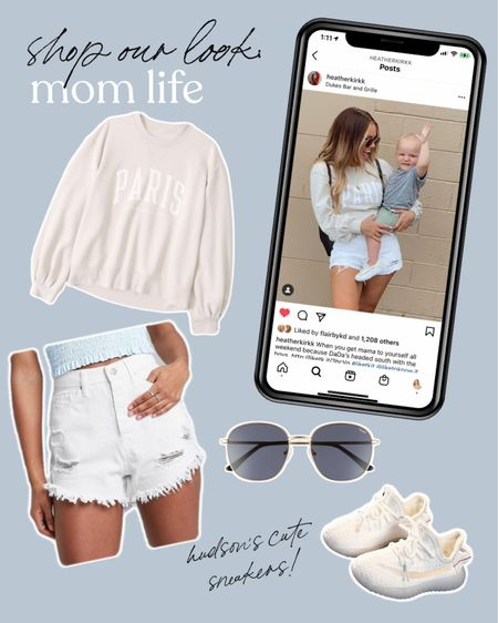 Shop our look! Mom life is about effortless Jean shorts and pullovers, and can't forget the shades! http://liketk.it/3hBTF #liketkit @liketoknow.it