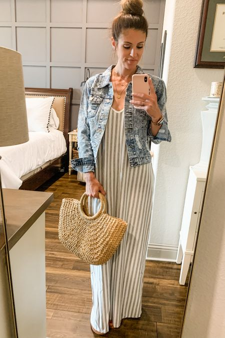 We are headed out for an adventure on Saturday and I'm outfit scheming. This maxi dress is super comfortable, lightweight, and has pockets! I'm going to bring this denim jacket, just in case I need it, and carry a straw bag without a single kid's snack or item for another person in it! What a great 🤣👌🏼👏🏼 http://liketk.it/3hIjx #liketkit @liketoknow.it #LTKunder50 #LTKunder100 #LTKstyletip