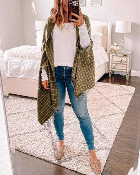 Cutest plaid scarf that switches to a cape as well! Love the olive green for fall   #LTKunder100 #LTKshoecrush #LTKsalealert