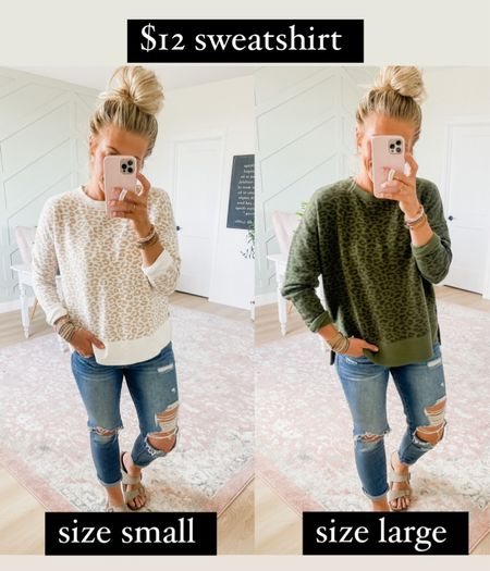 This cozy sweatshirt is $12 from Walmart. I have it in size large and small, which is more fitted. Love them both! Comes in lots of color options.   #LTKstyletip #LTKunder50 #LTKSeasonal