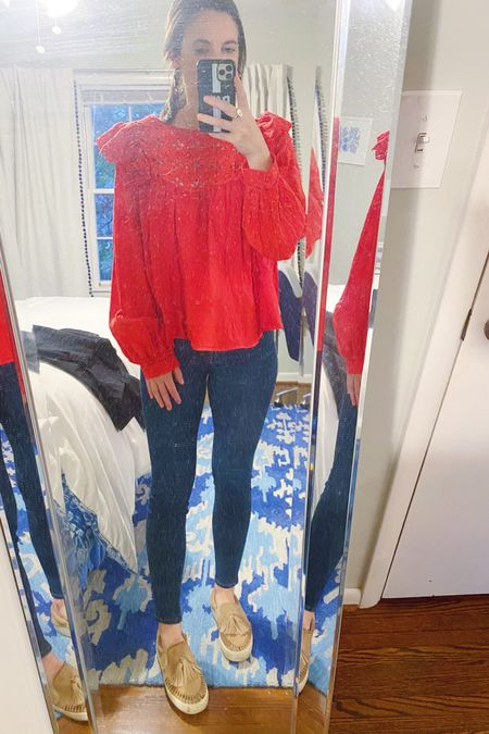 Since I still haven't put all my fall and winter sweaters and tops in my closet I've been trying to find creative ways to wear my summer favorites in a way that translates to fall. I love a good eyelet top and this red long sleeve one was a nice change from all the white summer tops I own. Paired with tortoise hoops, suede slides, and my favorite pair of dark wash denim it fits the season a bit better. I shared all of these pieces and a few similar tops on the @liketoknow.it app. #liketkit #LTKunder50 #LTKunder100 #LTKworkwear http://liketk.it/2ZN7b