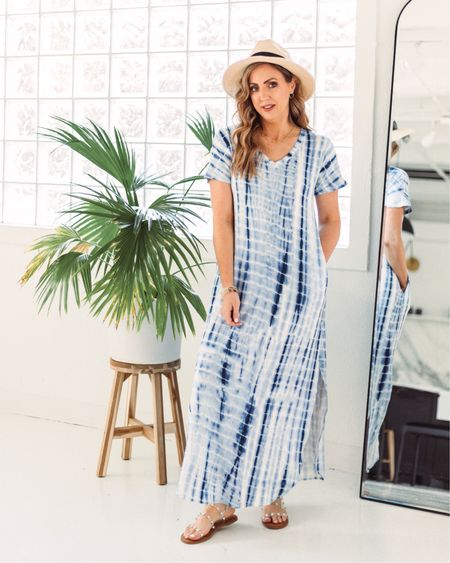Blue tie dye maxi - perfect spring and summer basic to dress up or down, or even wear as a swimsuit cover up! http://liketk.it/3bItR #liketkit @liketoknow.it