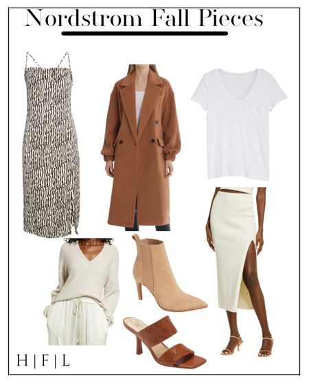 Nordstrom Fall must haves! Four pieces are on sale now! Camel coat, neutral booties, woven leather heels, cream  v-neck sweater, midi dress, midi knit skirt, scoop neck super soft whit tee, her fashioned life  #LTKsalealert #LTKunder50 #LTKstyletip