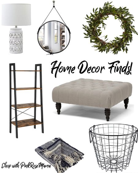 Love this modern farmhouse decor - tufted ottoman , metal storage , lamp , bookshelf .  Shop your screenshot of this pic with the LIKEtoKNOW.it shopping app   http://liketk.it/2RzQh #liketkit @liketoknow.it #LTKDay #LTKhome #LTKsalealert farmhouse industrial living room home office amazon finds rustic decor