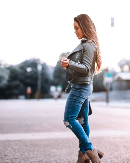 Nordstrom Anniversary NSale outfit  AllSaints Balfern leather jacket sage green - 00 / TTS  Good American Good Legs jeans - 00 / TTS  Steve Madden ankle booties - 5.5 / TTS  Fall outfit    #LTKsalealert #LTKstyletip #LTKtravel