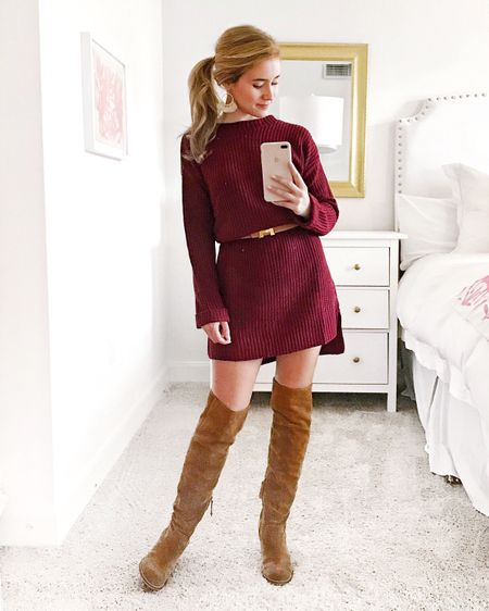 Belting roomy sweater dresses is my favorite trick for getting two looks out of one dress! 🍁🍂 Follow me in the LIKEtoKNOW.it app to shop this look  http://liketk.it/2tse4 #liketkit @liketoknow.it