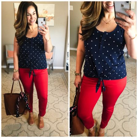 Navy dot tank and red ankle pants make a great 4th of July outfit! Fit Tips: tank tts, M// pants size up if inbetween // wedges size up 1/2 size http://liketk.it/2CBPH #liketkit @liketoknow.it #LTKcurves #LTKunder50 #LTKstyletip #LTKholiday #july4 #summeroutfit #oldnavy