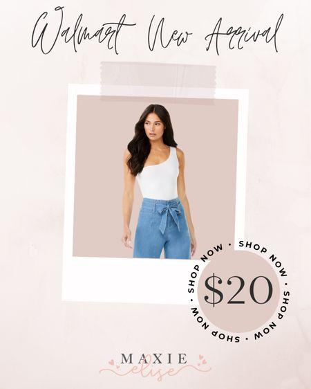Walmart New Arrival - White Bodysuit For Summer ☀️  #walmartfinds #walmartoutfits #affordablefashion #summerfashion #summeroutfits  #LTKunder50 #LTKunder100 #LTKstyletip