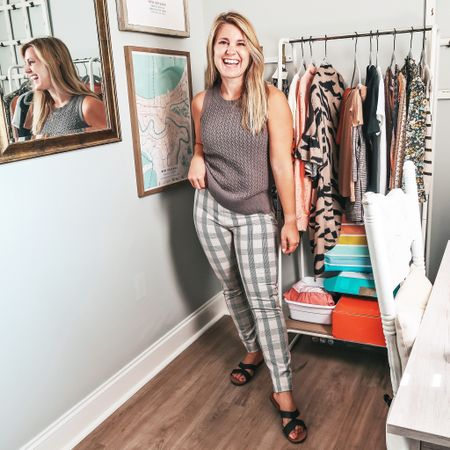 Perfect fall transition outfit for those who don't want to get too hot with these not so fall temps! Entire outfit from @target !  #target #targetstyle #sweatervest #plaid #anklepants #skinnyanklepants #falloutfit #teacherstyle   #LTKunder50 #LTKSeasonal #LTKcurves