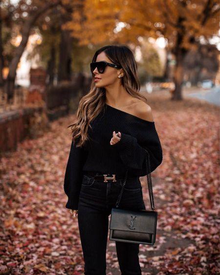 All black fall outfit Revolve off the shoulder sweater  Levi's black jeans Hermès belt Saint Laurent Sunset Bag    #LTKstyletip #LTKunder100 #LTKSeasonal