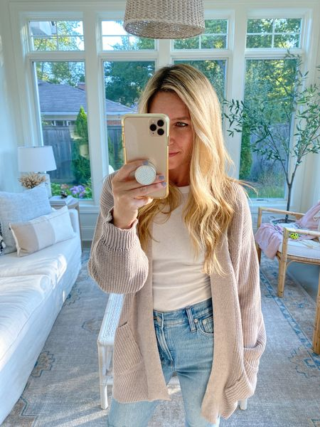 Obsessed with this $25 cardigan!! This is the taupe color and wearing an xsmall!   #targetfinds #cardigan #fallsweater  #LTKSeasonal #LTKstyletip #LTKunder50