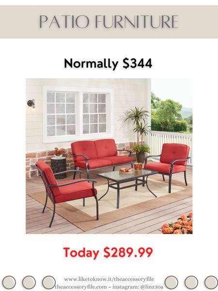 4 piece patio furniture set on sale Normally $344 Currently $289.99  Walmart find, Walmart finds, backyard furniture, for the home   http://liketk.it/3i0k8 #liketkit @liketoknow.it #LTKhome #LTKsalealert