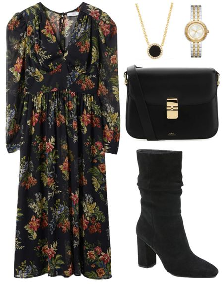 Easy fall style  .  . . Fall transition, fall outfit, fall dress, floral dress, midi dress, moody florals, fall boots, suede boots, crossbody bag   #LTKstyletip #LTKSeasonal