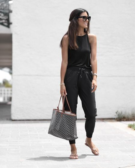Amazon fashion, comfy joggers, soft tank, athleisure looks, amazon finds, prime day, summer outfit ideas, sandals, tote, sunglasses, StylinbyAylin @liketoknow.it #liketkit http://liketk.it/3iaf6    #LTKstyletip #LTKunder100 #LTKunder50