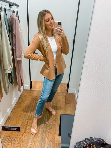 Express is part of the LTK sale!  Jeans are super stretchy and run tts Tank has tons of stretch and runs tts Blazer is knit! It's so comfy. #LTKSale   #LTKworkwear #LTKunder100