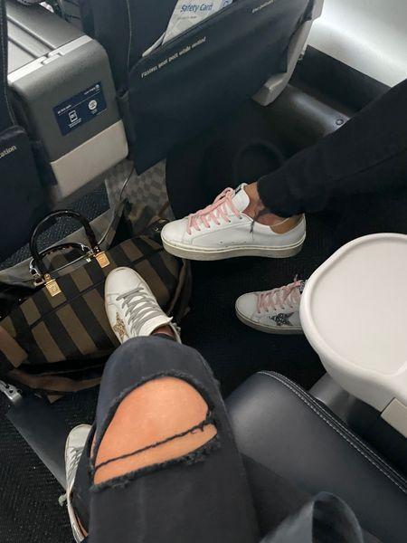 Golden Goose, Gold Golden Goose, Casual Sneakers, Fall Sneakers, Fall Shoes, Travel outfit, Travel Shoes, Golden Goose Pink and gold, Emily Ann Gemma, http://liketk.it/3nIqF  #LTKstyletip #LTKshoecrush