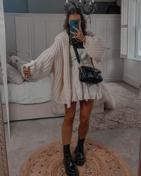 Autumn fall outfit ideas Missguided Oversized hand knitted cardigan with hood Dr marten platform boots Coach tabby bag  #LTKshoecrush #LTKstyletip #LTKeurope