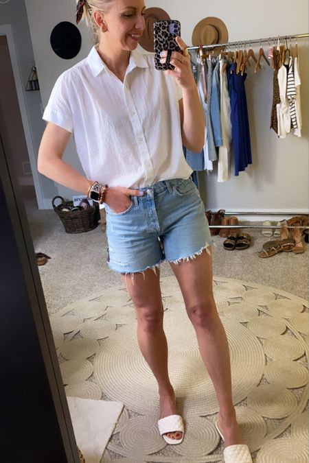 #liketkit http://liketk.it/3gL5X @liketoknow.it  What to wear when you don't know what to wear this summer... A classic, casual white blouse + denim shorts + sandals #LTKunder100 #LTKunder50 #LTKstyletip