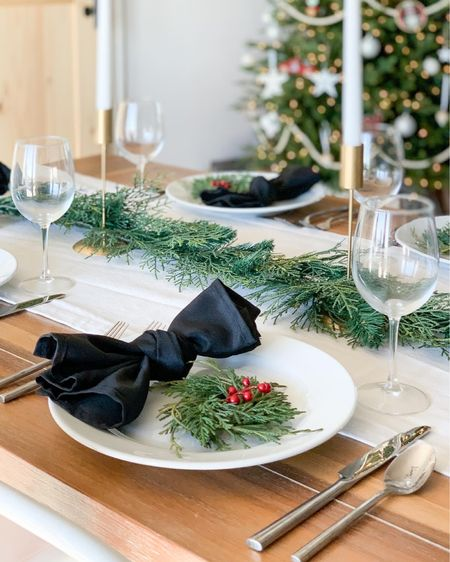 Simple holiday tablescape. Neutral Christmas table decor.   #LTKfamily #LTKhome #StayHomeWithLTK