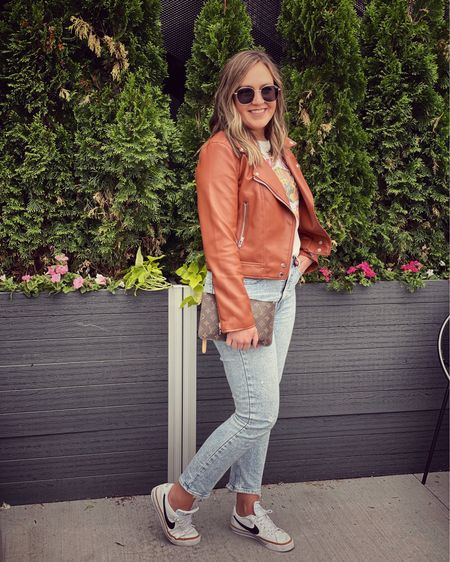 Best Memorial Day weekend so far! Comfy casual outfit perfect for this spring weather. Sneakers. Louis Vuitton. Gap jeans. Straight leg. Graphic tee. Joshua tree. Faux leather jacket. Sunglasses. #ltkseasonal #competition http://liketk.it/3guUF #liketkit @liketoknow.it #LTKstyletip #LTKDay #LTKsalealert