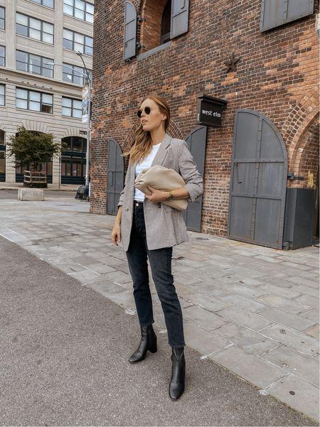 Agolde Riley jeans (tts), Loeffler Randall boots (size up, they run small), H&M blazer   #LTKstyletip #LTKSeasonal