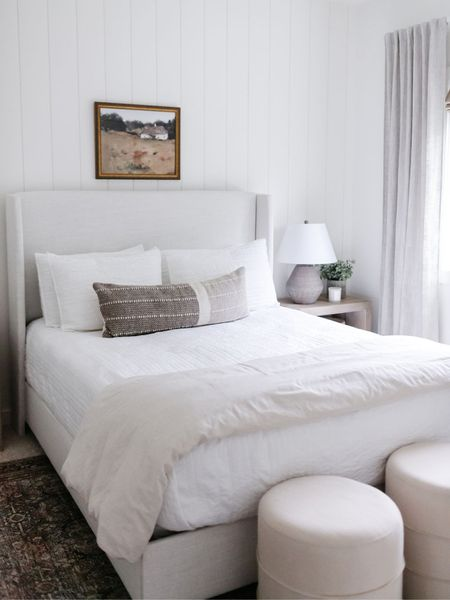 Bedroom inspiration.  Upholstered bed, wood side tables, Target bedding.  Target style, Amazon finds  http://liketk.it/3jP3d #liketkit @liketoknow.it #LTKunder50 #LTKhome @liketoknow.it.home