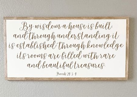 Beautiful scripture wall art! Waiting for our dining room reveal ( once lighting is installed ) to show how perfectly it blesses our home!🙏🏼✨  #liketokit #LTK #scripture #faith #wallart #art  #LTKhome #LTKfamily #StayHomeWithLTK