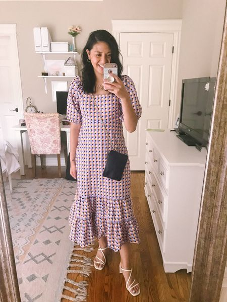 Wedding guest dress. It's a puff sleeve dress with ruffled hem. Runs big so I recommend sizing down. I normally wear size 4 (size small) and had to size down to sis 2. Perfect dress to wear to the wedding.  Wearing a pair of heeled sandals. Fits true to size and under $60. The perfect white sandals for the summer.    #LTKwedding #LTKstyletip