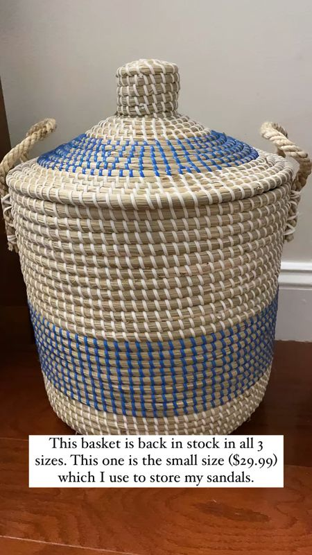 This hamper comes in 3 sizes and I use this small one ($29.99) for storing my sandals out of sight.   #LTKhome #LTKunder50 #LTKunder100