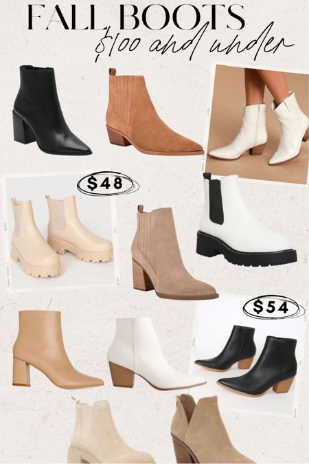 Fall boots $100 and under! Booties, combat boots, chunky boots, lace up boots, block heel boots, pointed toe boots